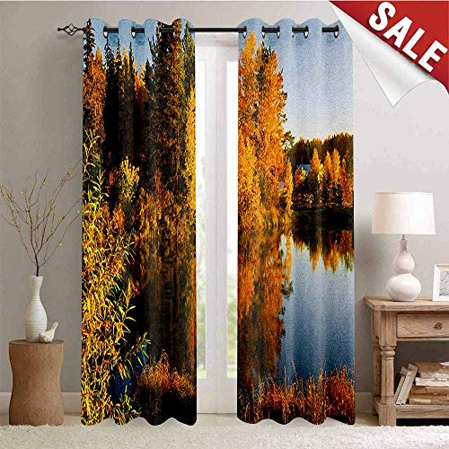 - UNOSEKS LANZON Fall Window Shades Multi Pattern, Lake at Sunset Rays Autumnal Landscape Pond Woodland Outdoors Ecology Environment Indoor Darkening Curtains, Multicolor, W72 x L84 Inches