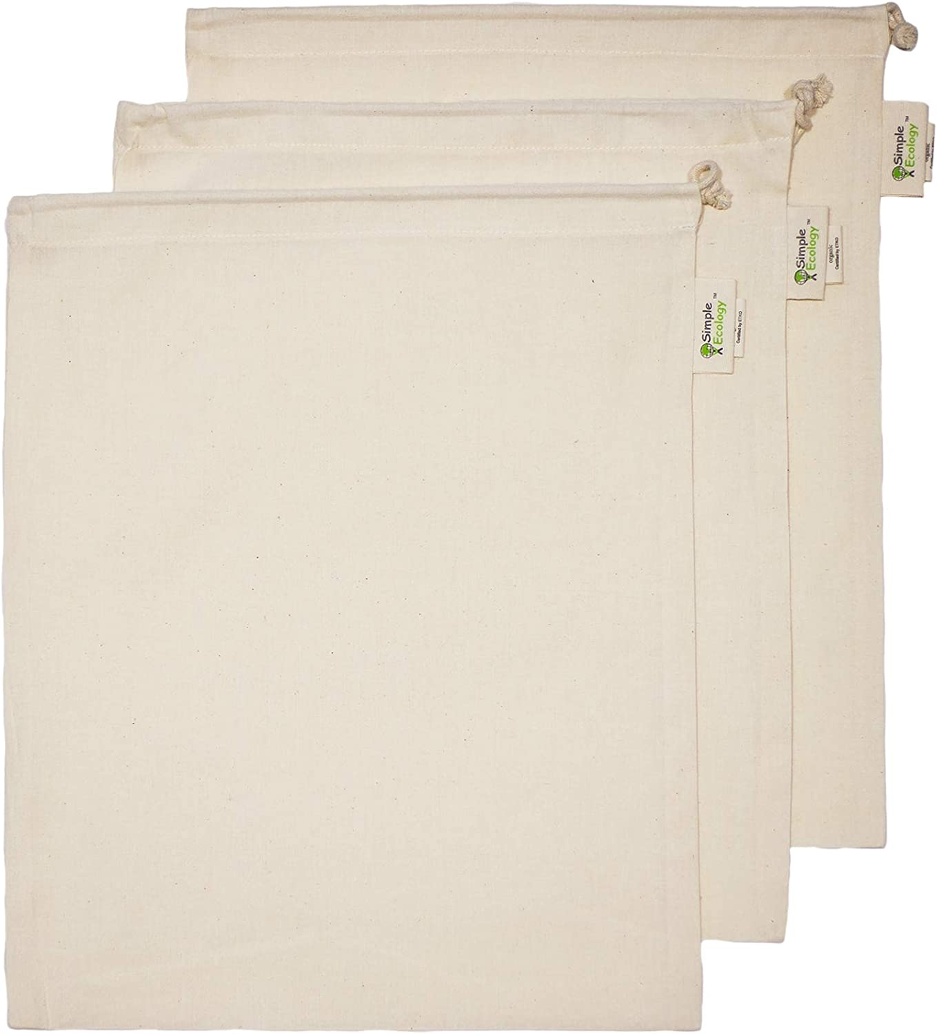Simple Ecology Reusable Organic Cotton Muslin Grocery Shopping Produce Bags - Large 3 Pack (Heavy Duty, Washable, Produce Saver Bags, Food Storage, Bulk bin, Tare Weight tag, Drawstring)