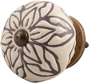 IndianShelf Handcrafted 4 Pieces Ceramic Amarylis Floral Etched Cream Kitchen Knobs for Cabinets Furniture Wardrobe Pulls Decorative