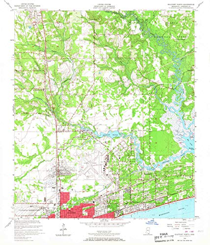 YellowMaps Gulfport North MS topo map, 1:24000 Scale, 7.5 X 7.5 Minute, Historical, 1954, Updated 1967, 26.8 x 23 in - Paper (West Mississippi Gulfport)