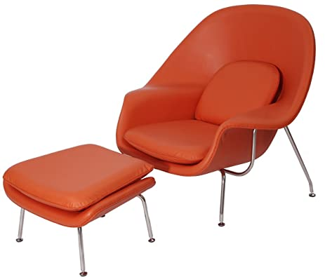 MLF Premium Version Eero Saarinen Womb Chair U0026 Ottoman Replica. Italian  Leather U0026 PU Foam
