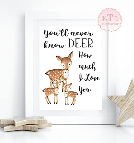 image about Printable Deer Pictures titled Woodland Nursery Artwork Deer Woodland Boho Print Printable Wall Artwork Bohemian Yard Floral Nursery Youngster Lady Area Playroom Decor