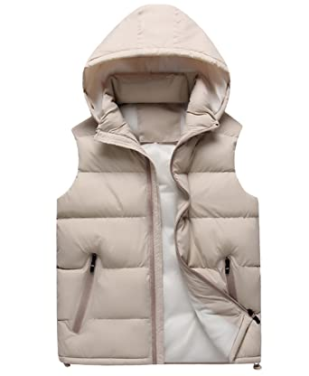 Men's Winter Puffer Vest Removable Hooded Quilted Warm Sleeveless Jacket  Gilet (Small, Beige)