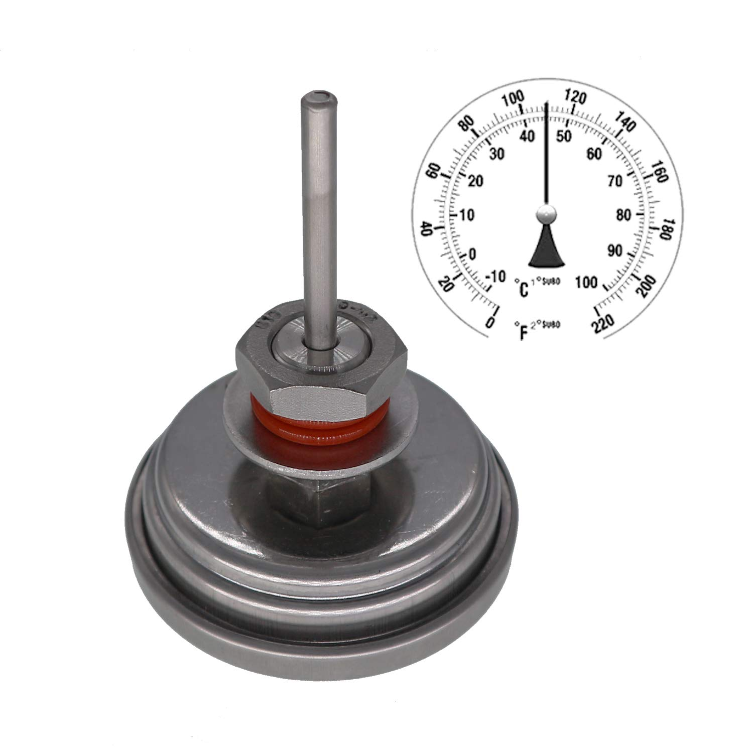 """Homebew Weldless Bi-Metal Thermometer Kit, 3""""Face & 2""""Probe, 1/2""""MNPT, 0~220F Degree, Beer Brewing Thermometer, Homebrew Kettle"""