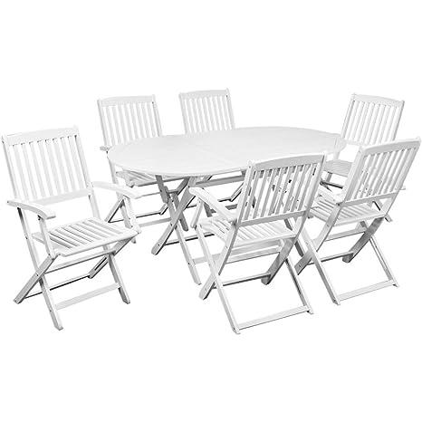 Anself set tavolo e sedie da giardino Bianche Legno Di Acacia ...