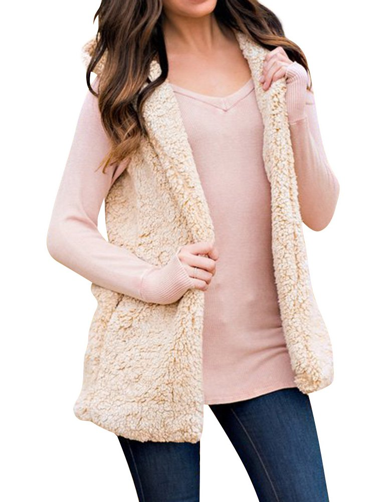 WLLW Women Fleece Sleeveless Open Front Hooded Vest Cardigan Coat Outerwear Tops