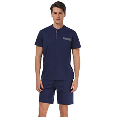 Aibrou Men's Short Sleeves and Shorts Cotton Pajama Set Sleepwear Lounge Set Summer at Men's Clothing store