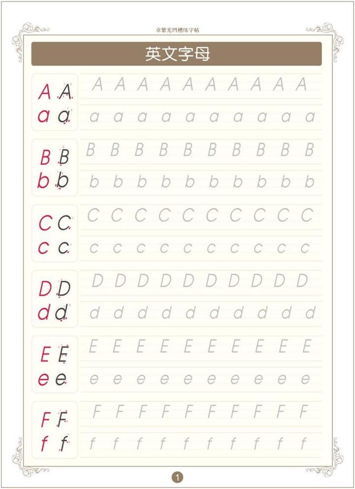 Ingl/és alfabeto folleto de la caligraf/ía Groove libro de escritura para ni/ños en el hogar