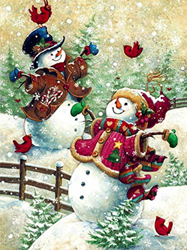Vine_MINMI 5D Diamond Painting Kits Full Drill Lovely Snowman Rhinestone Embroidery Crystal Wall Decoration Best Gift