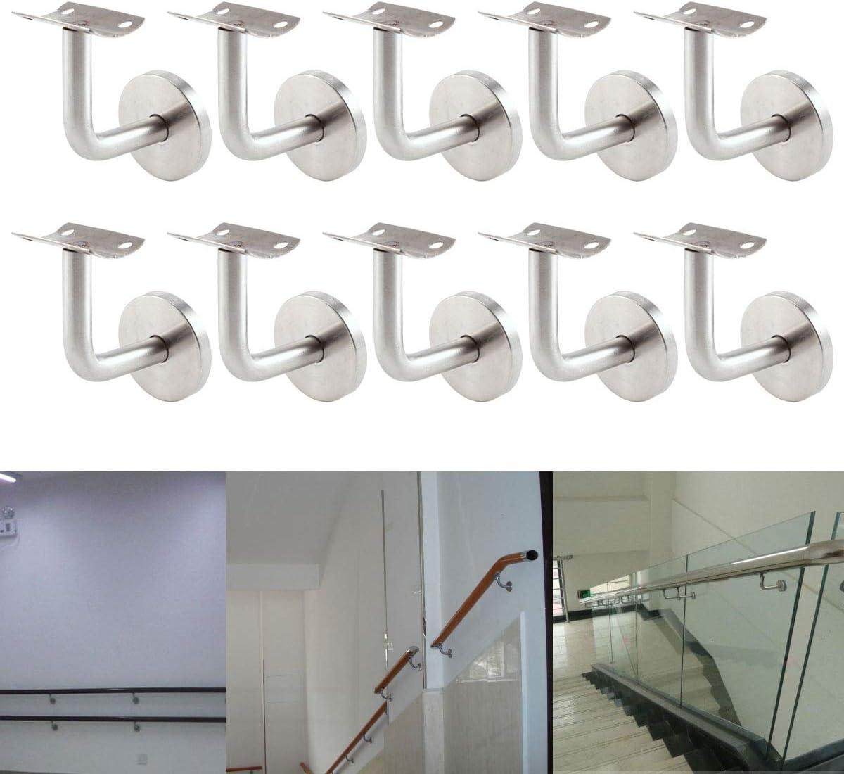 10 Set Handlauftr/äger Handlaufhalter Handlauf Wandhalter Holz Gel/änder Flach mit Abdeckrosette Edelstahl #201