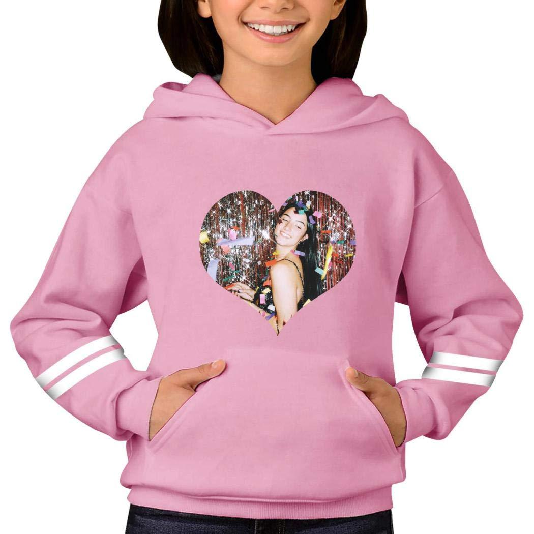 JIKON Charli-Damelio Printed Hoodies Children Boys and Girls Pocket Pullover Sweatshirt