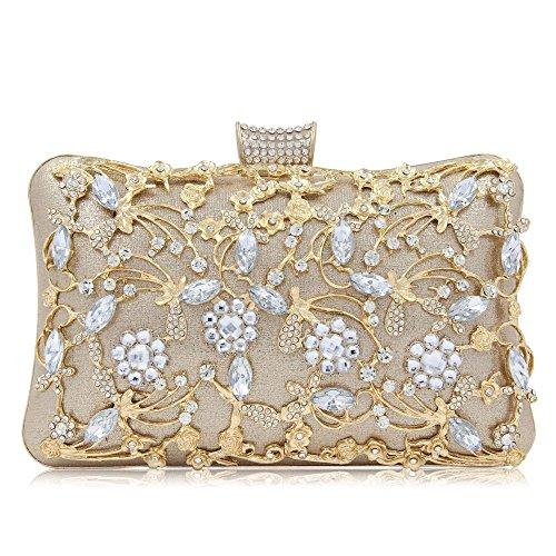 NBWE Brillo de cristal embragues nupcial bolsos de noche y embragues para mujeres bolso grande embrague monedero con correa Clutches Gold