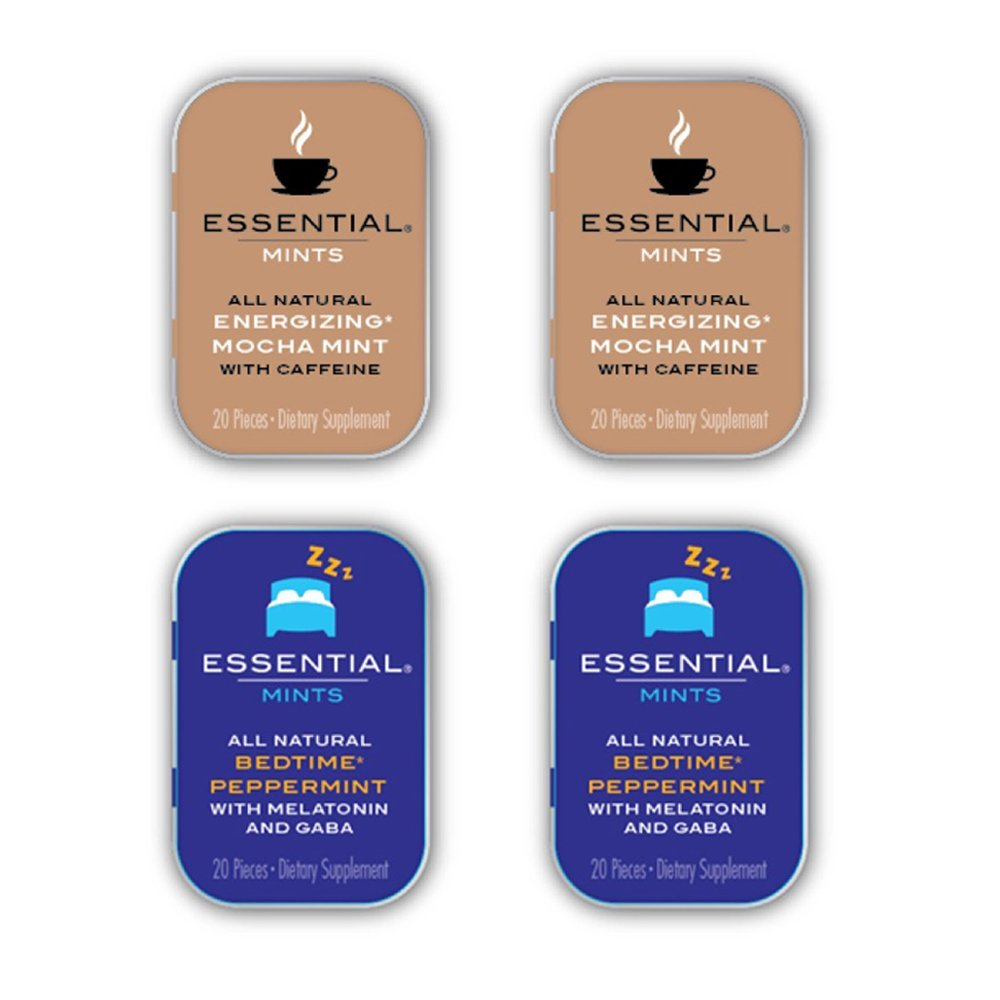 Essential Mints 400 mg | Day & Night Pack | All Natural Gluten Free, Non GMO, Vegan, Melatonin Supplements, Energy Supplements, 80 Pieces (4 Packs of 20 Mints Each)