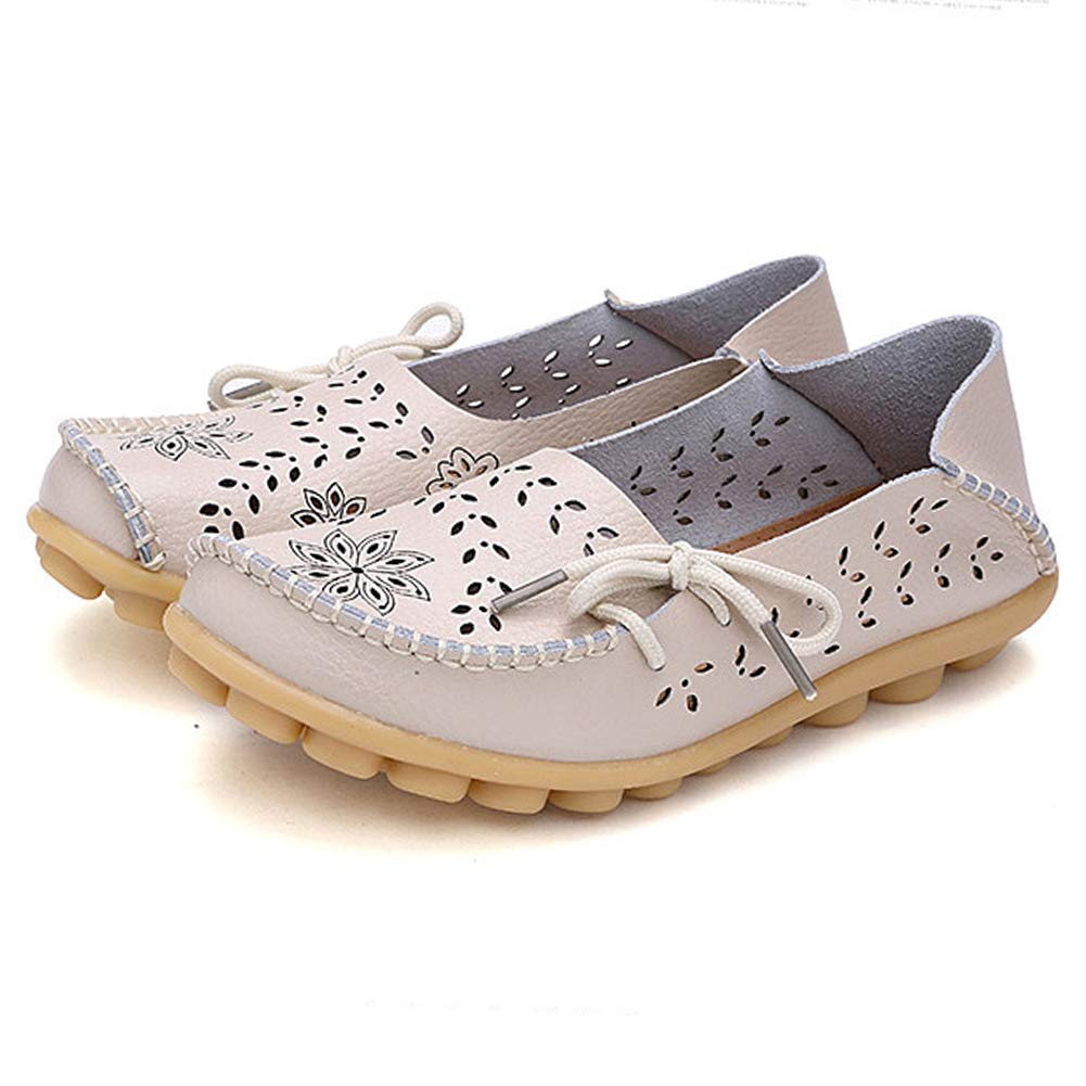 7e849fc4aab9c SHIBEVER Women's Leather Loafers Moccasins Wild Driving Casual Flats  Oxfords Breathable Shoes