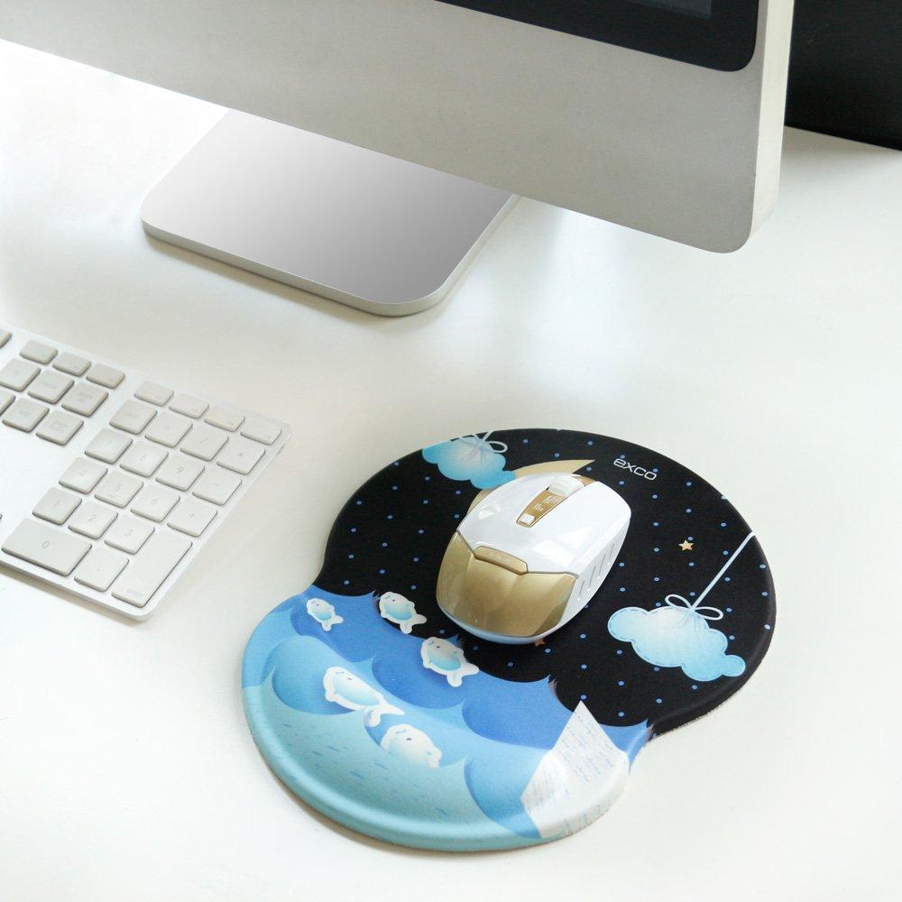 Tapis de souris de surface lisse pour ordinateurs et ordinateurs portables Tapis de souris /él/égant Black-EXCO ergonomique avec support de poignet Silicon Soft Comfort Base PU non-Slip