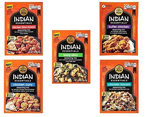 Simply Asia Indian Essentials Seasoning Mix 5 Flavor Variety Bundle, 1 Each: Butter Chicken, Chicken Biryani, Chicken Curry, Chicken Tikka Masala, and Saag Aloo