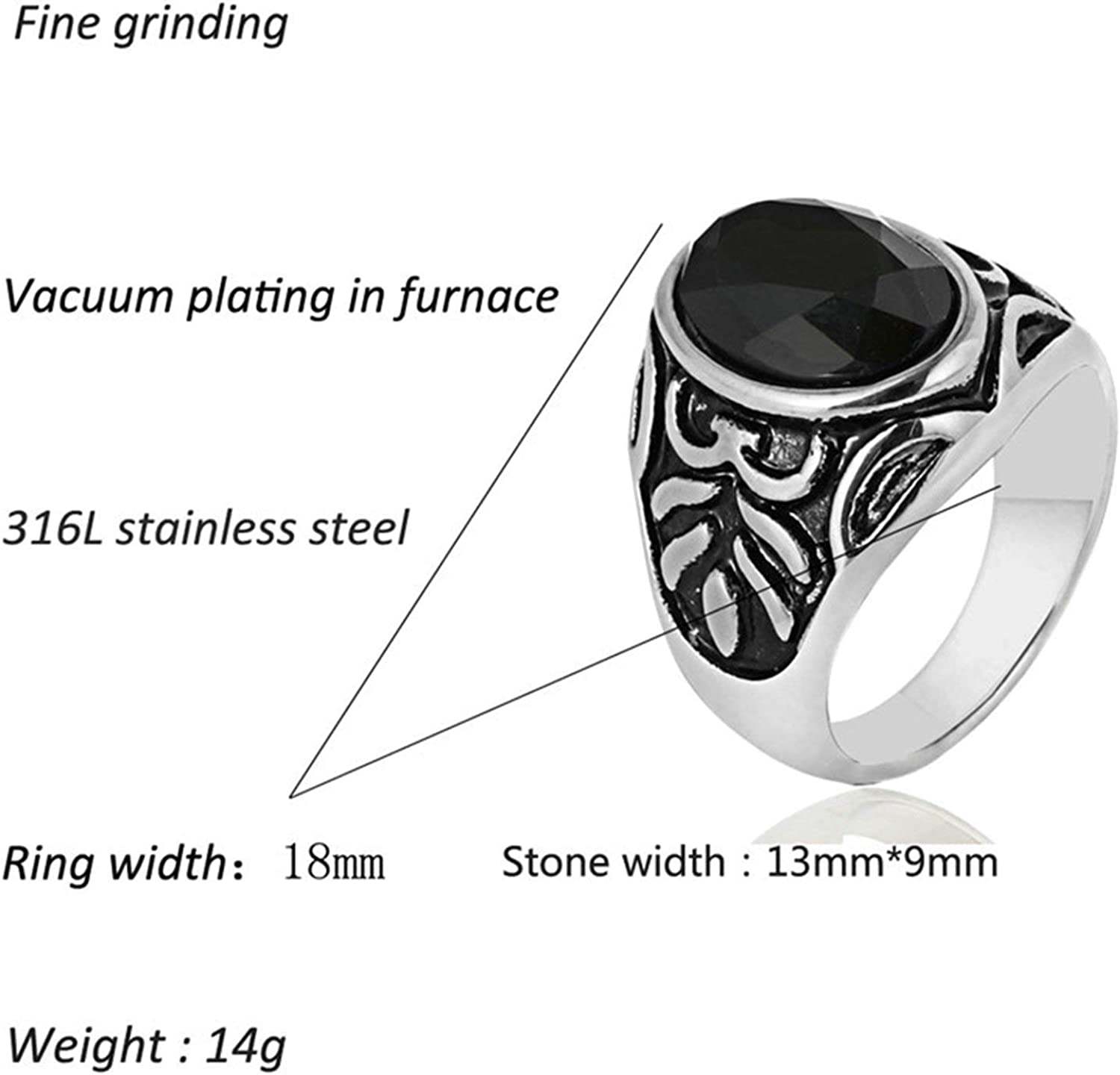 Aooaz Titanium Steel Signet Rings Vintage Filigree Oval Cubic Zirconia Shaped Finger Ring for Boys