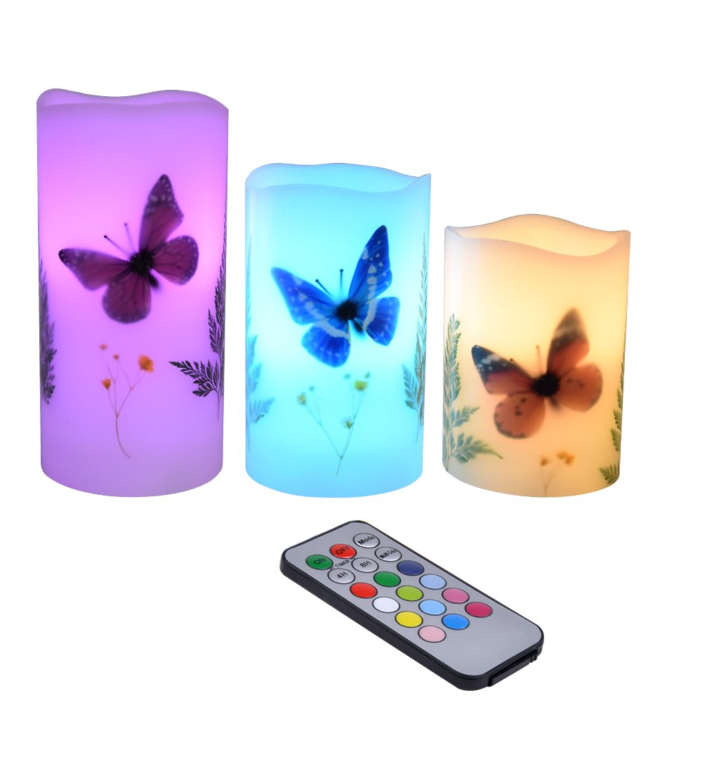 Candles Set of 3 Flameless 4'' 5'' 6'' Unscented Tealight Butterfly Flower Plants Decor Real Wax Pillar Candle LED Lights 12 Color Changing 4H 8H Timer Remote Control AAA Batteries Operated
