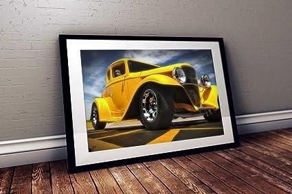 Amazon.com: GearHeadzHD 1932 Ford Hotrod Mellow Yellow Hot Rod Wall ...