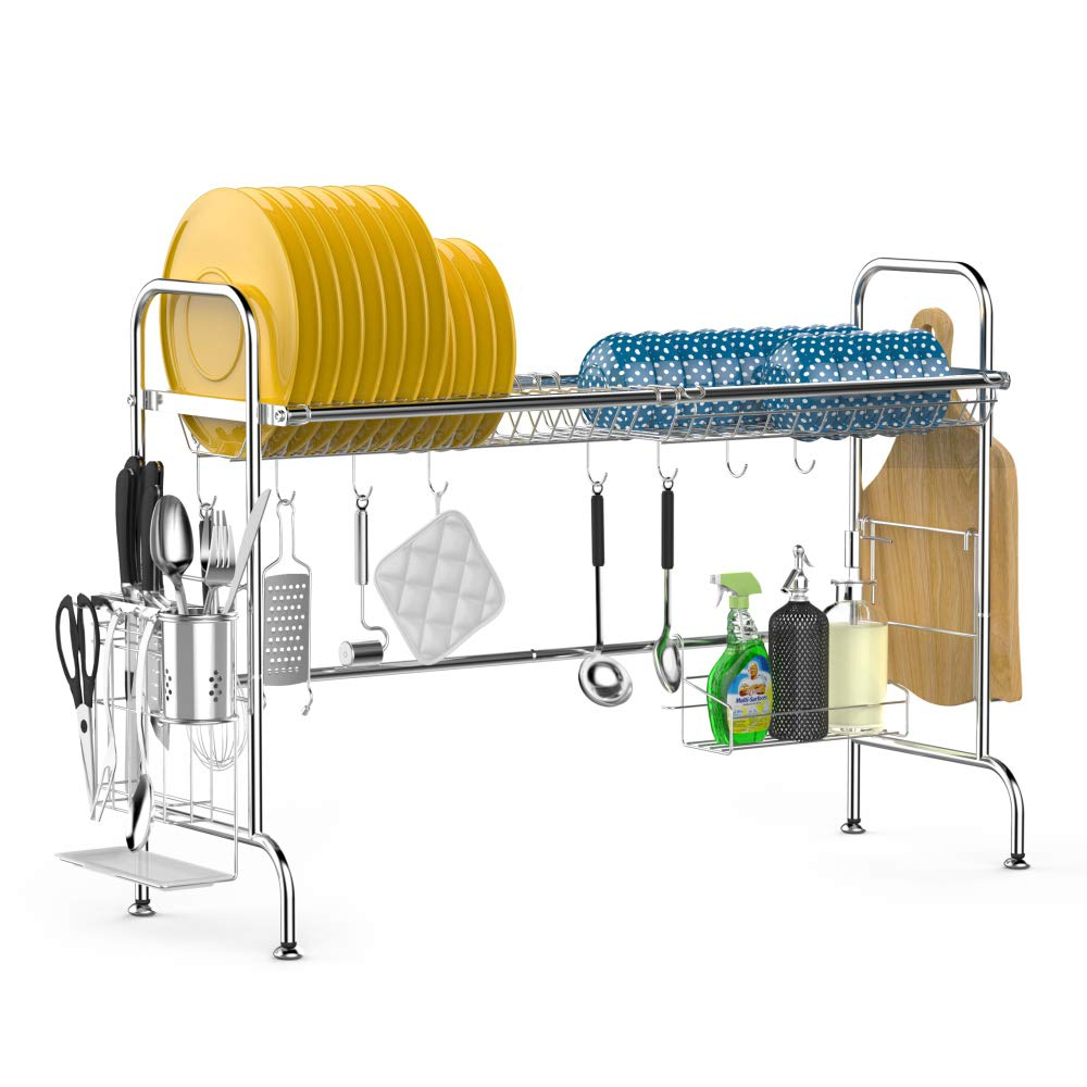 Over the Sink Dish Drying Rack, iSPECLE Large Premium 201 Stainless Steel Dish Rack with Utensil Holder Hooks for Kitchen Counter Non-slip