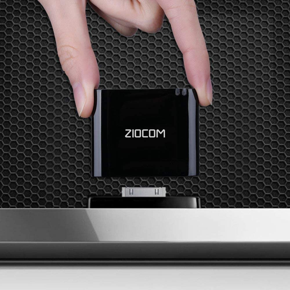 ZIOCOM Bluetooth Adapter for iPhone iPod Bose Sounddock and Other 30 Pin Dock Speakers, Not Compatible with Bose Sounddock I, Black