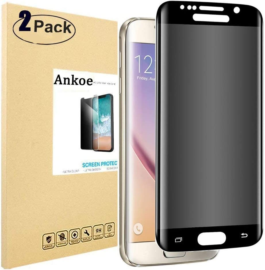 Privacy Screen Protector Samsung Galaxy S7 Edge Bubble Free Ankoe Full Coverage Anti-Spy Anti-Scratch 3D Curved Privacy Tempered Glass for Samsung Galaxy S7 Edge Anti-Fingerprint 2 Pack