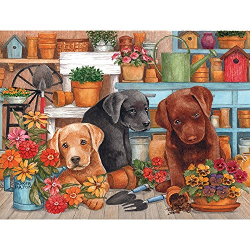 Bits and Pieces - 300 Large Piece Jigsaw Puzzle for Adults - Triple Trouble - 300 pc Labrador Puppy Dog Jigsaw by Artist Parker Fulton