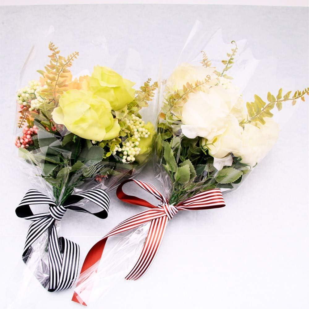 BBC Clear Rose Flower Bouquet Packaging Bags Floral Arrangement Supplies L 100 Counts