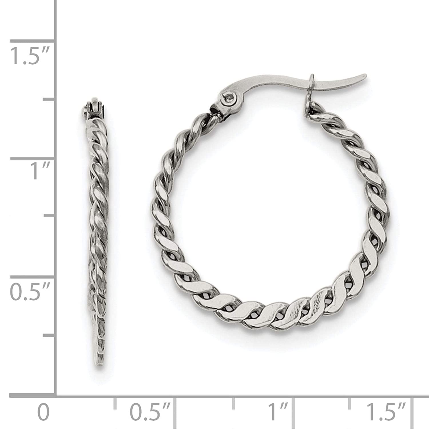 Stainless Steel Polished /& Textured Twisted Hoop Earrings 2mm x 29mm