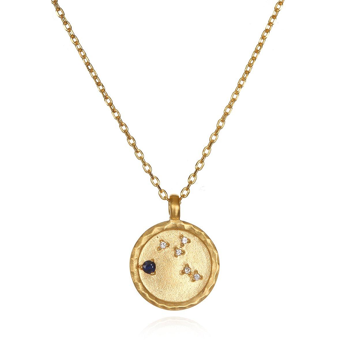 Virgo Constellation Sapphire White Topaz Zodiac Necklace (18-inch)