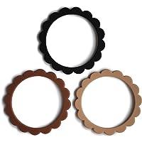 mushie Flower Teether Bracelet | 3-Pack (Black/Natural/Caramel)