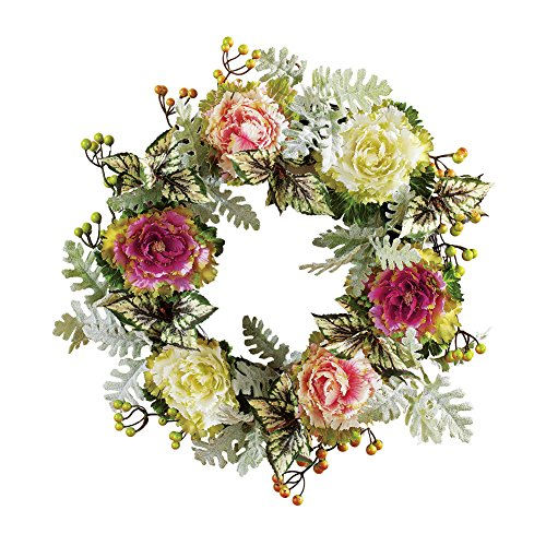Collections Etc Artificial Cabbage Rose Front Door Wreath Old Fashioned Home Decoration, 16