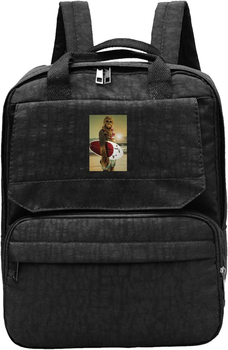 WUHONZS Travel Backpack Cool Funny Chewbacca Surfing Poster Gym Hiking Daypack College Laptop and Notebook Bag for Women & Men