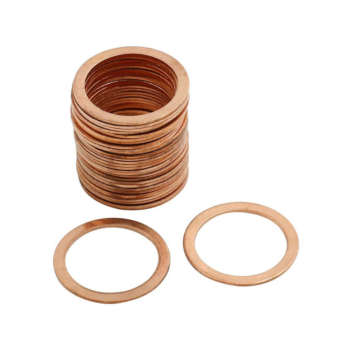X AUTOHAUX 30 Pcs 22mm Inner Diameter Copper Washers Flat Sealing Gasket O-Shape Rings