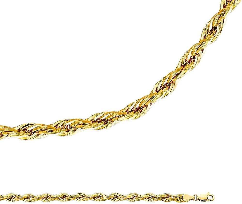 10k Yellow Gold Diamond-cut 2.0mm Extra-Lite Rope Chain Bracelet 7-30