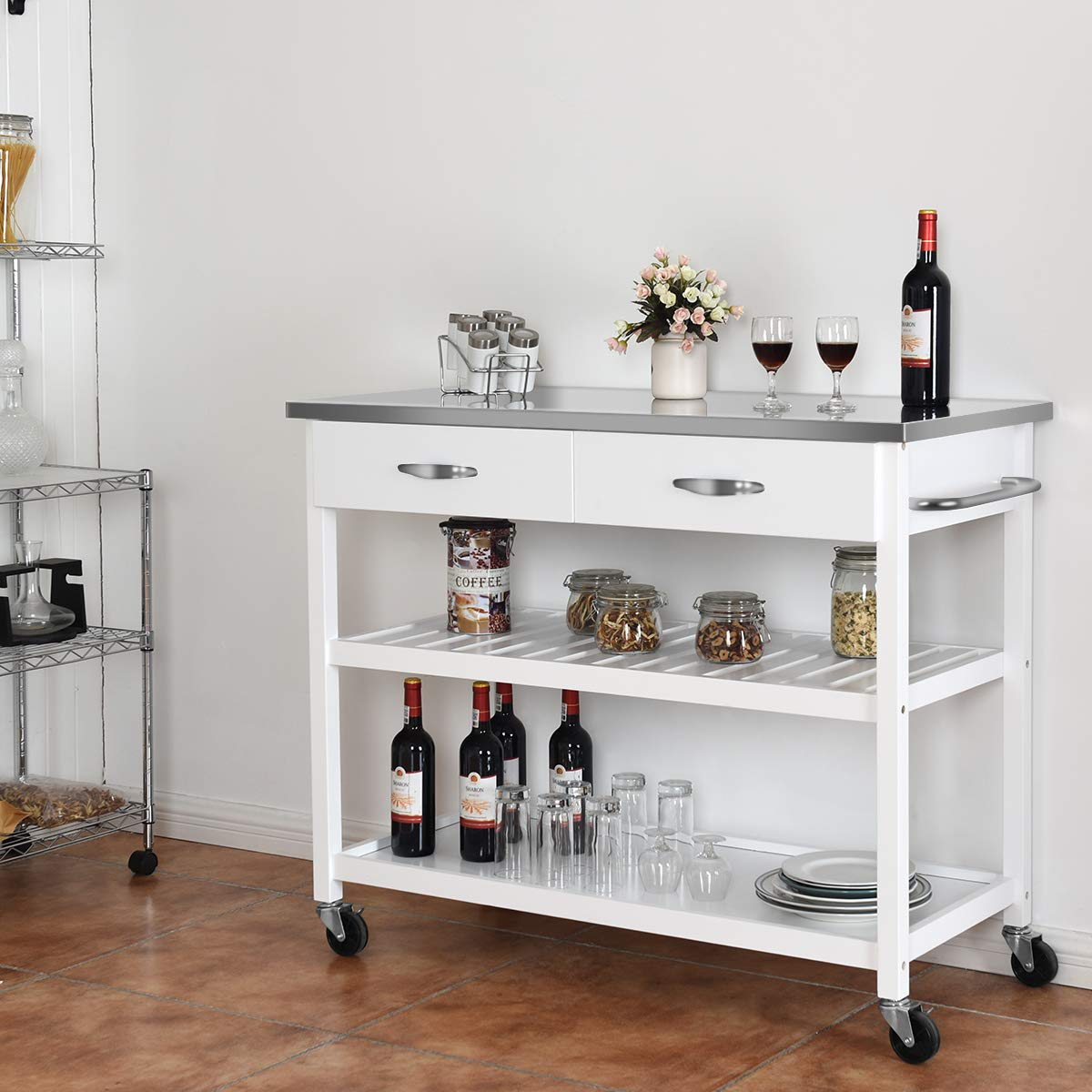 Giantex Kitchen Trolley Cart Rolling Island Cart Serving Cart Large Storage with Stainless Steel Countertop, Lockable Wheels, 2 Drawers and Shelf Utility Cart for Home and Restaurant, (White) by Giantex (Image #2)