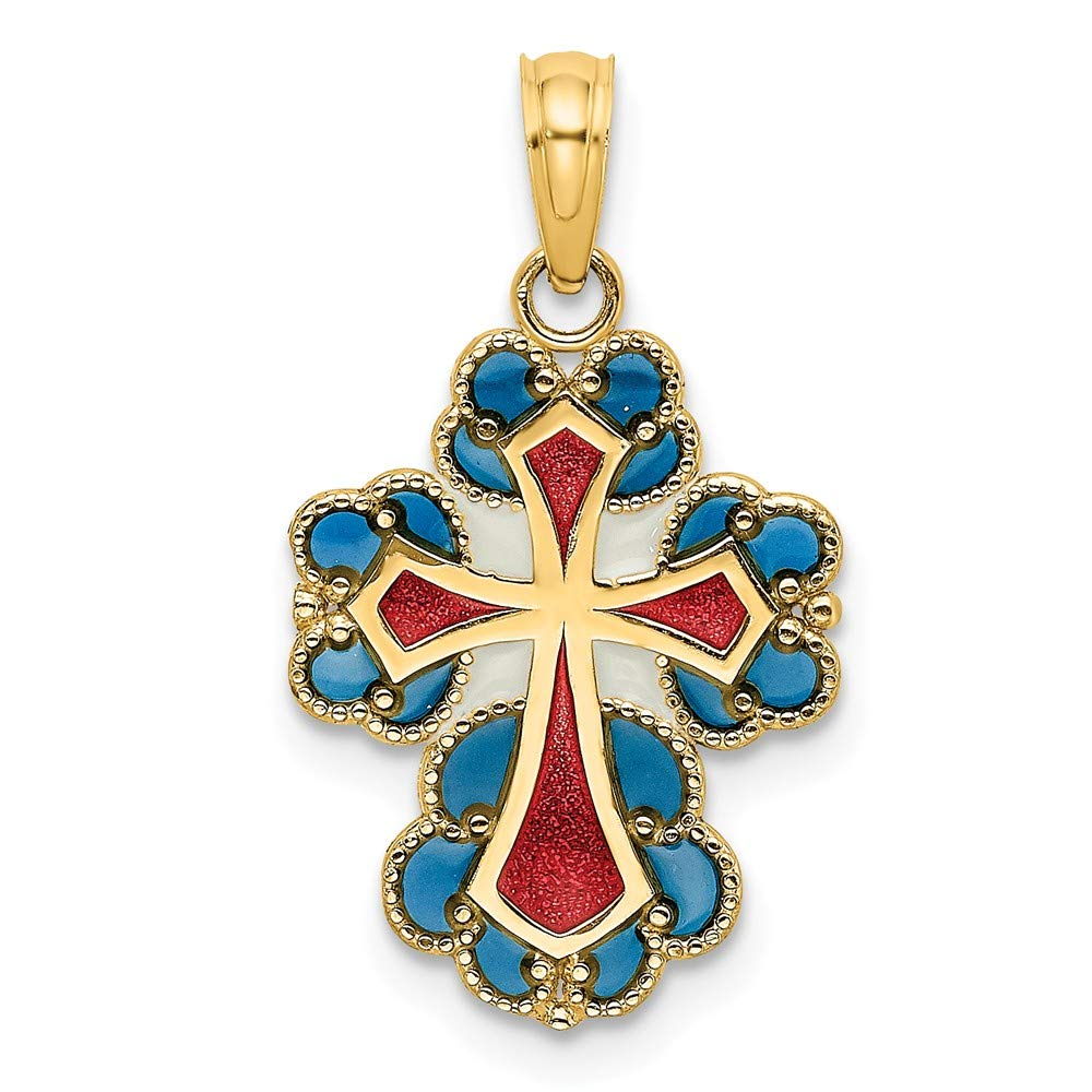 Jewels By Lux 14K Yellow Gold Blue Lace Trim Cross with Red and White Center Stained Glass Pendant