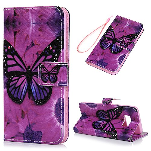 MOLLYCOOCLE Galaxy S8 Case,Wallet Case Lovely Cute Pattern Full Body Soft TPU Inner Bumper Wrist Strap Protective Case for Samsung Galaxy S8 with Pen & Tower Dust Plug - Purple Butterfly