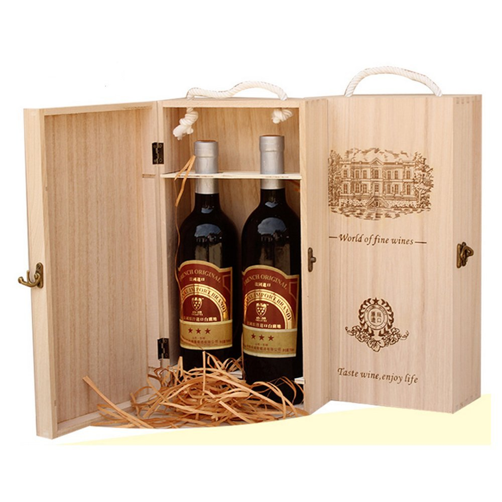 BaiJia Natural Wood Dual Bottle Wine Box Carrier Crate Case Best Gift Decor