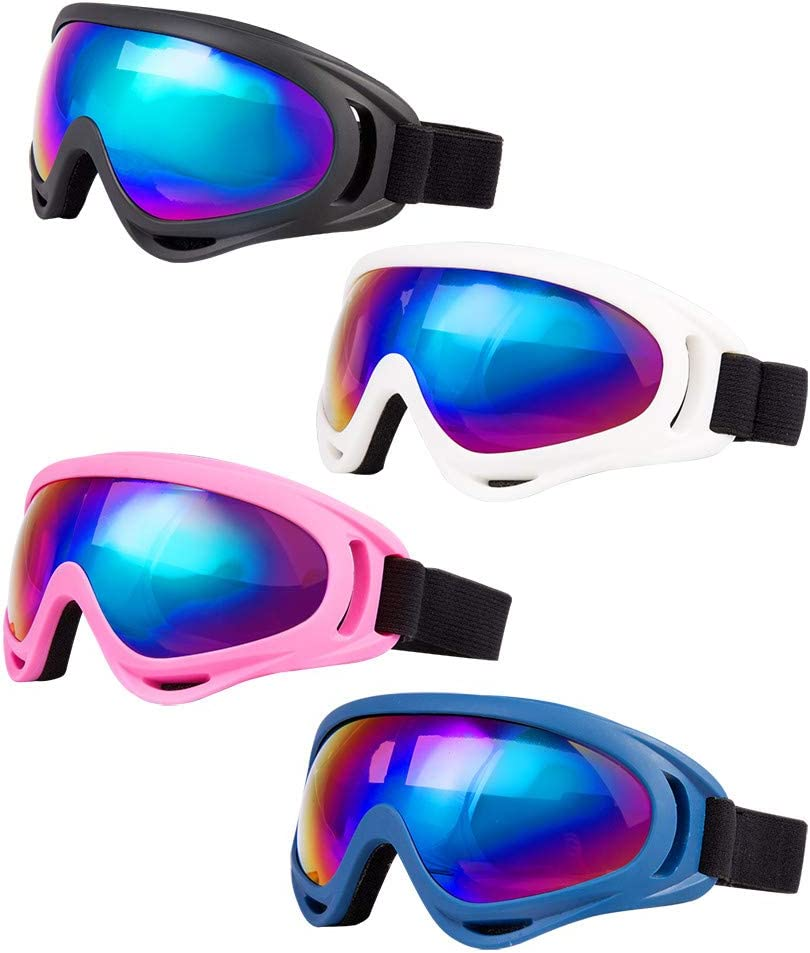 Men /& Women Anti-Glare Lenses Boys /& Girls Pack of 2 Snowboard Goggles for Kids Helmet Compatible with UV 400 Protection Elimoons Ski Goggles Youth Wind Resistance