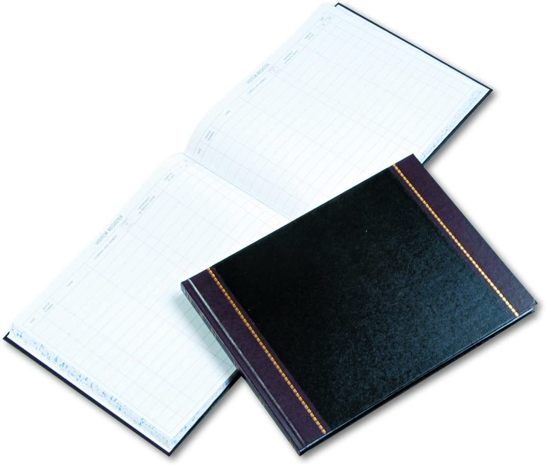 Wilson Jones S491 Detailed Visitor Register Book, Black Cover, 208 Ruled Pages, 9 1/2 x 12 1/4