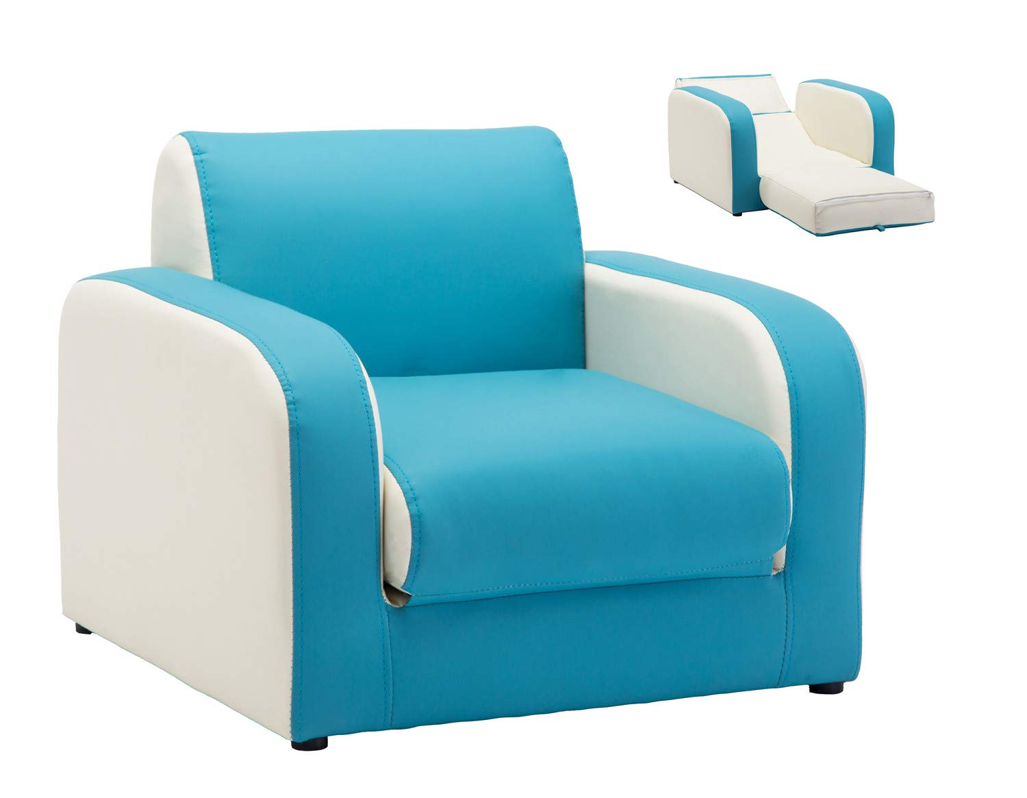 Panama Children Multi-Functional Upholstered Sofa Kids Chair/PU Leather Bright Color (Blue) Haoyue Furniture