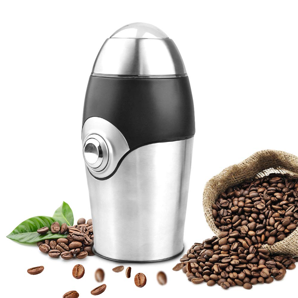 PowCube Electric Coffee Grinder Blade Mill, 8 Cups, 200W Stainless Steel Powder Grinding Machine for Nuts Herbs,Grains, Spices, Sugar, Silver by PowCube