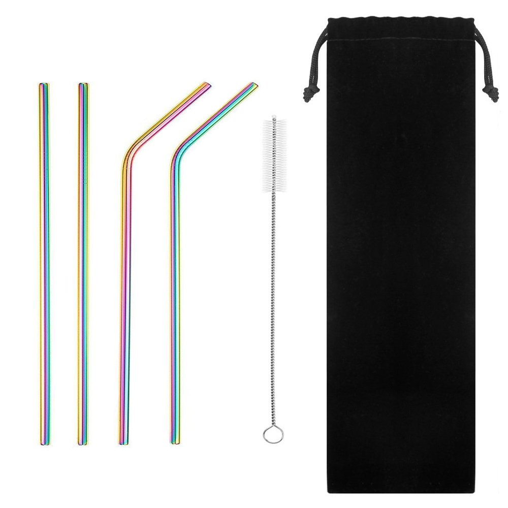 Denshine Stainless Steel Drinking Straws Set of 4 Stainless Steel Straws for 30oz Tumblers Yeti Straw/Metal Straws Straw Cleaner Included(Color)