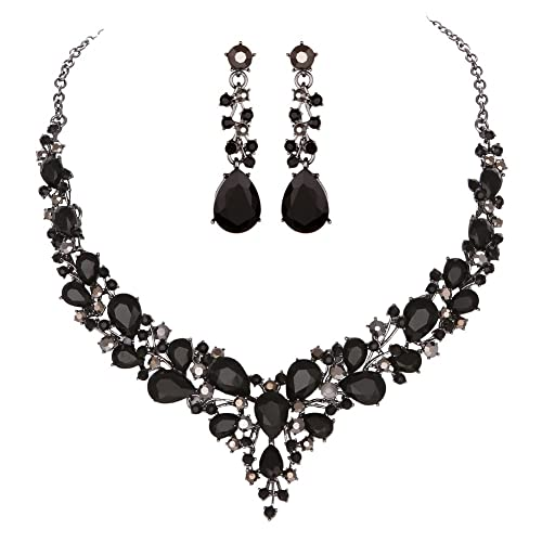 a601b3eb6a Youfir Bridal Austrian Crystal Necklace and Earrings Jewelry Set Gifts fit  with Wedding Dress(Black): Amazon.ca: Jewelry