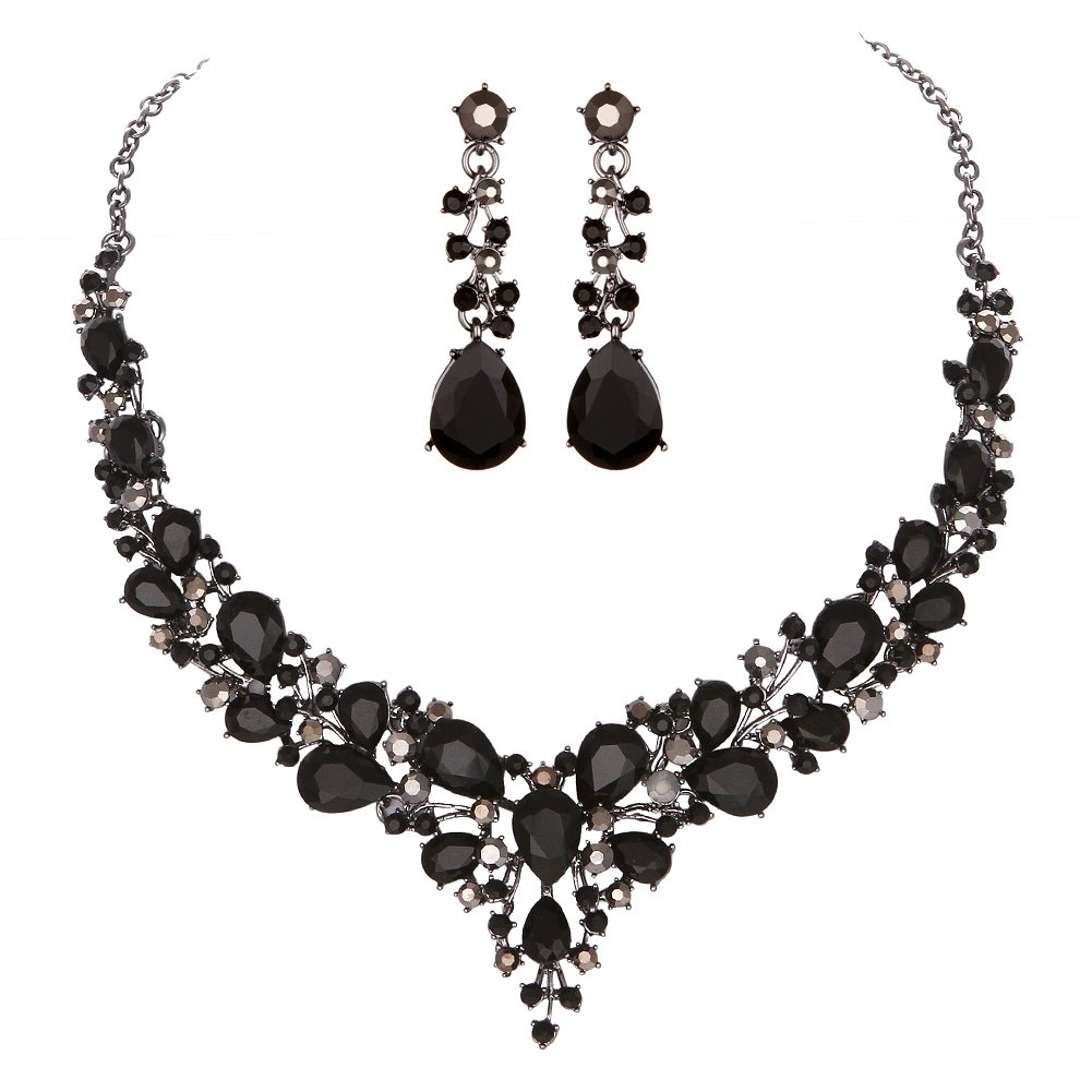 Youfir Bridal Austrian Crystal Necklace and Earrings Jewelry Set Gifts fit with Wedding Dress(Black)