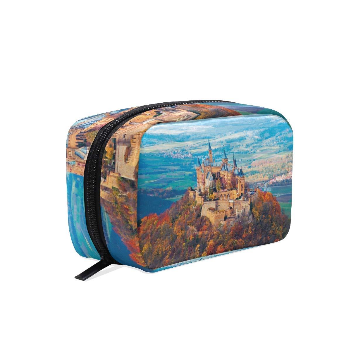 Makeup Organizer Neuschwanstein Castle Autumn Womens Zip Toiletry Bag Large Case Cosmetic Bags