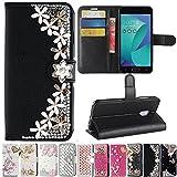 Asus Zenfone V Live V500KL Case, Best Share Manual Bling Flip Stand PU Leather Wallet Full Cover Silicone Case Card Slot for Asus Zenfone V Live V500KL, Black-Lucky Flower