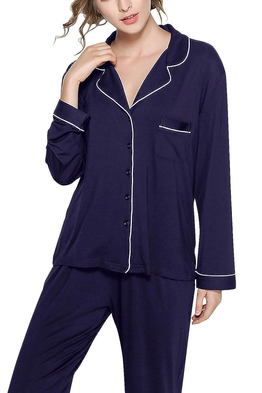 Dolamen Pijamas Camisón para mujer, Mujer Algodón Modal largo Camisones Pijamas, lencería Collar de botón con botones Neglige Lencería Ropa de Dormir: ...