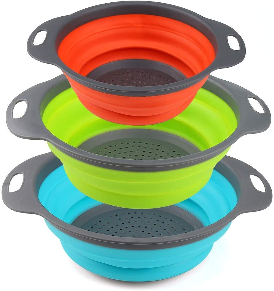 Collapsible Colander Set by Payanwin,3 Round Silicone Kitchen Strainer Set for Draining Pasta, Vegetable and fruit- 2 pcs 4 Quart and 1 pcs 2 Quart(Orange,Green,Blue) (Color1)